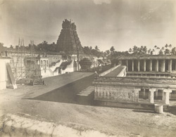 Perspective view from the south-west, Jambukesvaraswami Temple [Jambukeshvara Temple], Tiruvanaikoil [Srirangam], Trichinopoly District
